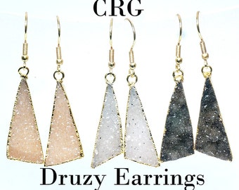 Gold Plated Crystal Druzy Scalene Earrings 30mm - Crystal Druzy - Drusy (EAR183)