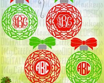 Mandala Christmas Ornament with Bow Monogram Base, Christmas Ornament SVG, Digital Clipart & Cut File Instant Download SVG DXF eps Jpeg Png