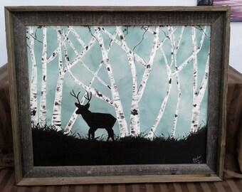 Deer in white birch grove painting