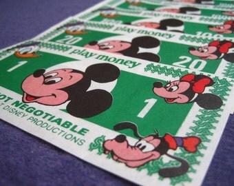 Vintage Walt Disney Play Money – Set of Six Different Bills