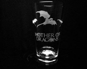 Game of Thrones Inspired- Mother of Dragons- Pint Glass