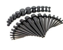 fashion 36pcs/set black acrylic Ear expander Plug Taper Stretcher Double O-Rings Ear Gauges Kit body Puncture Piercing jewelry