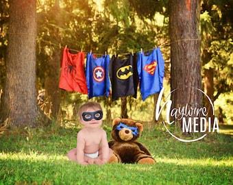 Boys Superhero Costume Dressup Clothesline Outdoor Scene Backdrop - Digital Super Hero Halloween Photography Background - Instant Download
