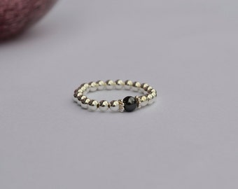 Sterling Silver and Black Swarovski Pearl Stretch Ring