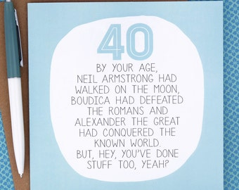 40th Birthday Card - Funny Birthday Card - funny 40th birthday card - birthday card 40 - paperplane - paper plane