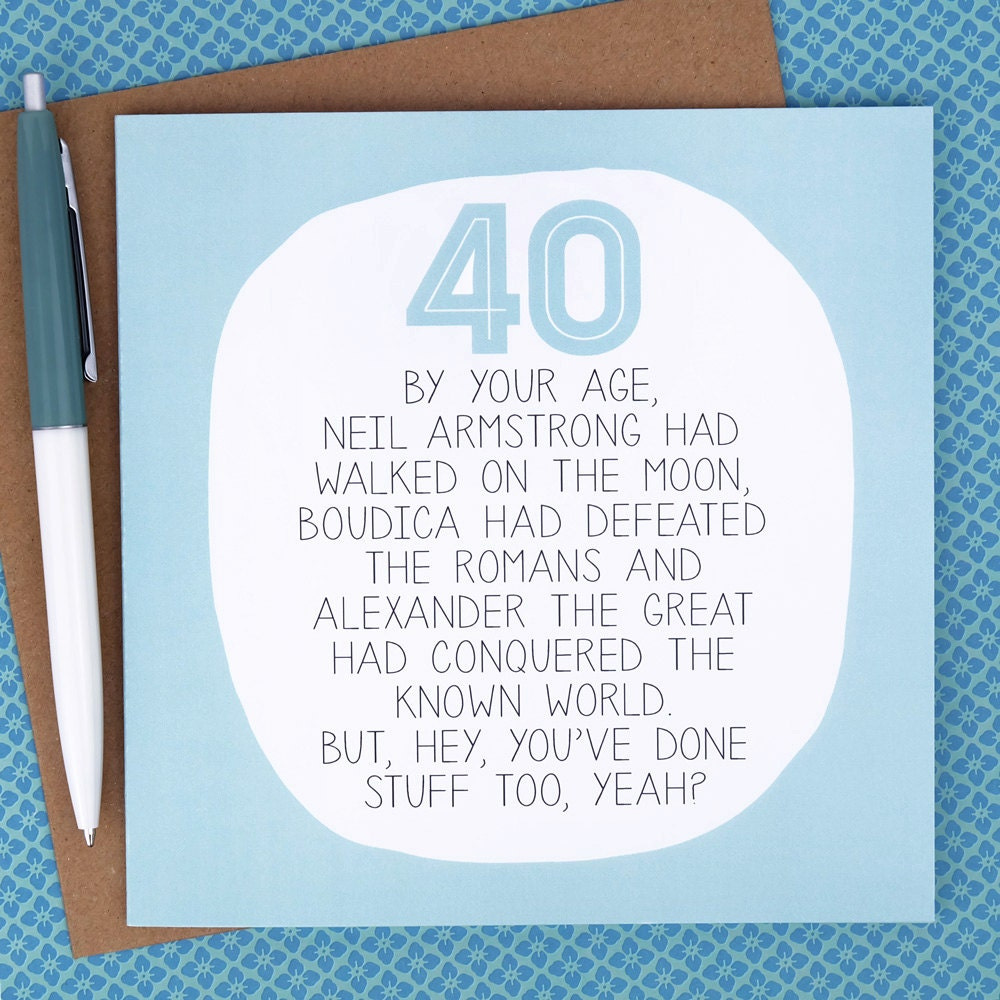 40th Birthday Card Funny Birthday Card funny 40th birthday – Humorous 40th Birthday Cards