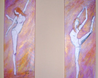 The Dancer is a set of two original paintings of a ballet dancer in free form