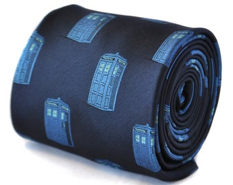 navy blue tie with blue policeman tardis box embroidered design with signature floral design to the rear by Frederick Thomas FT2109