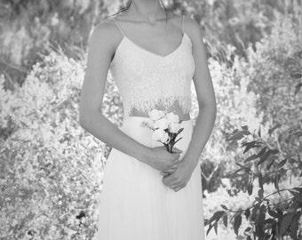 Mila- Stunning 2-pieces lace Wedding dress White / Ivory ,Open Back Chiffon Wedding gown , chiffon and lace