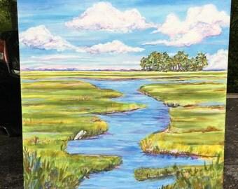 Large Marshland Painting 48 x 48 inches