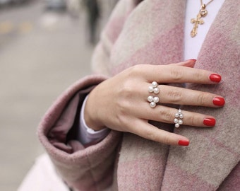 Double Ring  Pearl ring  Silver Ring with Pearls  Silver ring Statement Ring Pearl Engagement Ring Womens ring