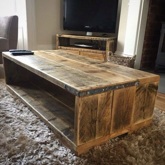 Maribel reclaimed wood coffee table handmade bespoke - Table basse bois acier ...