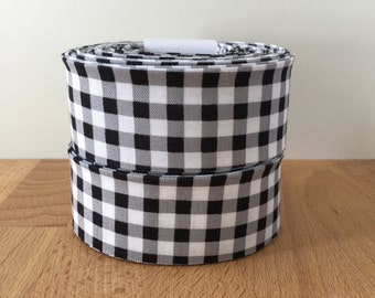 """Black and White Gingham Check Quilt binding- 1.25"""" double-fold cotton"""