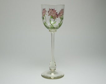 Unusual Art Nouveau Theresienthal enamelled & gilded wine glass, c.1900