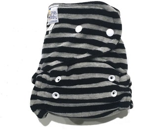OS Hybrid Fitted Cloth Diaper - Velour - Grey and Black Stripes - Caresse  // baby shower gift // photo prop // presents // toddler // baby