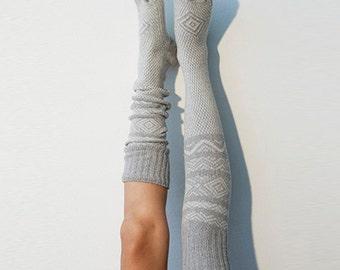 Grey Knee High Socks Scandinavian Pattern