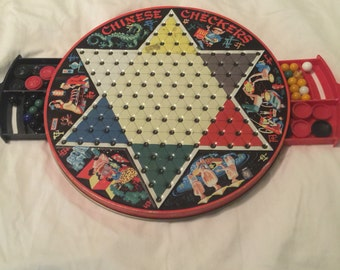 Vintage 1960's lithographed tin chinese checkers / checkers board game