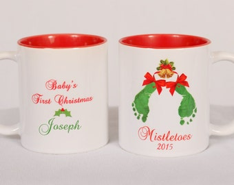 Mistletoes Baby Footprints Deco Mug with Green Interior 13 oz - Using Baby's Actual Footprints