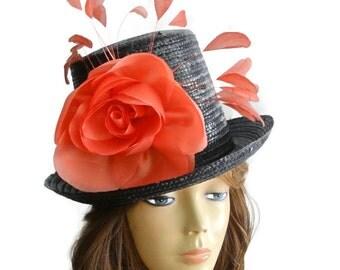 black top hat, coral top hat, Black boater hat, black fascinator, black derby hat, black wedding hat, coral hat, black hat, coral womens hat
