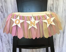 Pink and Gold Star Banner // Pink and Gold  Highchair Banner// Pink and Gold Banner // Pink and Gold Birthday Banner// Pink and Gold Garland