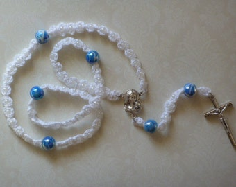 White and Blue Crochet Rosary Bead Necklace