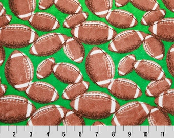Minky Cuddle in Football Print of Green from Shannon Fabric