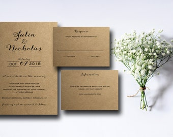 Kraft Paper Printable Wedding Invitation Suite