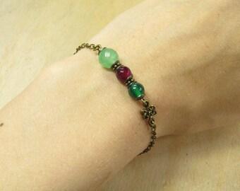 Bracelet green PINK vintage style bronze metal Bangle bracelets, Pearl agate Aventurine green pink, green agate, Celtic Celtic infinity