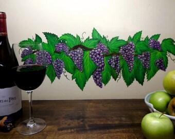 Artisan Handpainted Grape vine wall art transfer/decal/mural/sticker FREE SHIPPING