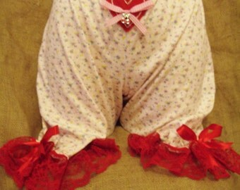 Pink gingham/floral print 'above the knee' bloomers with red lace,bows,heart & cherry! Pin-up,prarie,hillbilly,Victorian,50's,rockabilly!