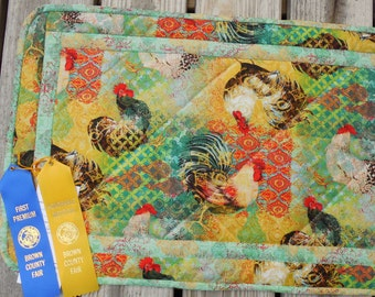 Hand quilted Bohemian roosters  table runner
