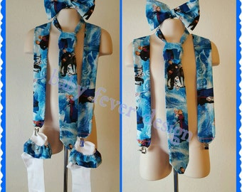 Suspenders, hair bow, with matching socks in available in any theme