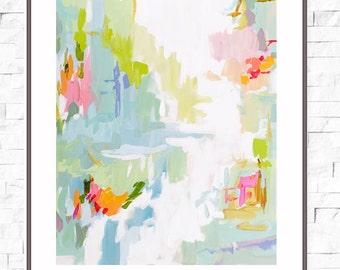 Modern Art Print , Abstract Print, 8x10, 11x14, 16x20, pink, lime, aqua, marendevineart