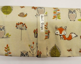 Padded compact folding nappy, diaper wallet, pouch with waterproof changing mat. All in one. Woodland fox.