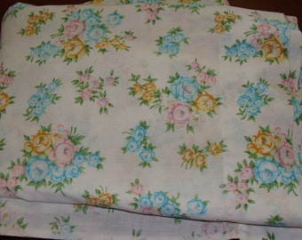 Shabby Chic Twin Flat sheet/Cabbage Roses/Prairie