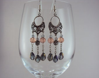 Rose Chandeliers with Purple & Peach Crystals