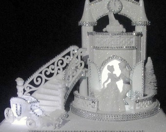 Lighted White Glittered Castle Cinderella Fairy Tale Wedding Card Box With Lighted Carriage