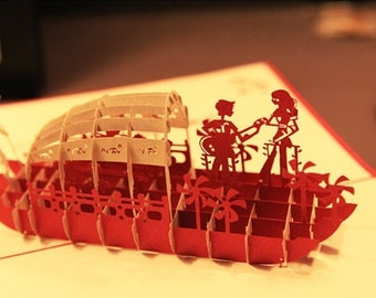 3D card small lovers' boat handmade card papercut
