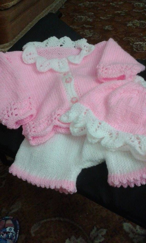 Baby Knitting pattern ref01 Cardi and Cap with lacy knitted edges and matching Shorts size 0-3mths