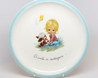 """Vintage 1960's-70's American Greeting Corp, Gigi Decorative Plate, Excellent Condition, 10-1/2"""" Diameter, """"A smile is Contagious"""""""