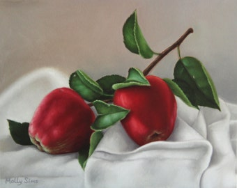 Red Apples - Fruit oil painting - Realistic - Wall art - Fruit art - Open Edition Print