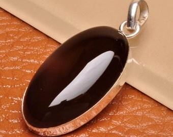 Black Onyx sterling silver pendant   ( #J1548)