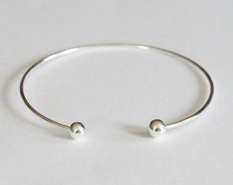 Sterling Silver Bangle, Removable Ball, 2.5 inch, 1.5mm, 15 gauge, Fast Shipping from USA