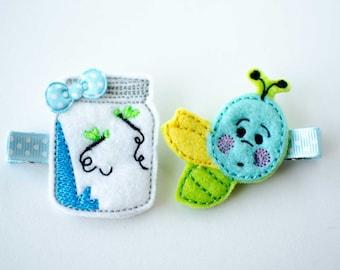 SALE lightning bug and jar felt embroidered hair clip set