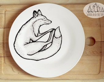 Sleeping Fox - Plate TWO SIZES - hand painted illustrated quirky wild animal funny cute dish forest woods fauna present gift cartoon dinner