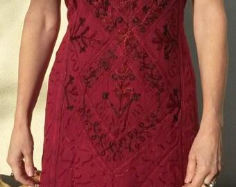Indian Embroidery Design Tunic Cotton Dress, Hippy Boho Summer 8 10 12 Orange Purple Pink Yellow Elephant