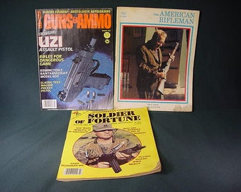 Vintage Old Collectible * Magazine * Guns & Ammo * Soldier of Fortune * American Rifleman