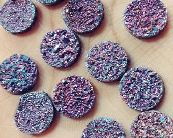 Purple rainbow titanium faux druzy 12mm -13mm round- 10pcs