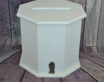 White Painted Timber Octagon Wishing Well Card Keeper Box for Wedding or Engagement