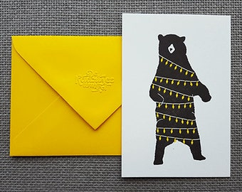 Letterpress christmas card - Bear & lights